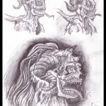 Demon Sketches - Pencil - Digitally Framed