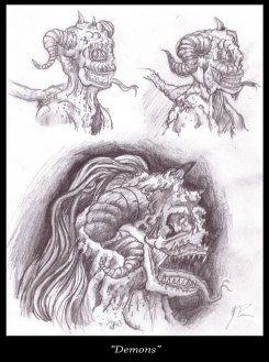 Demon Sketches - Pencil - Digitally Framed