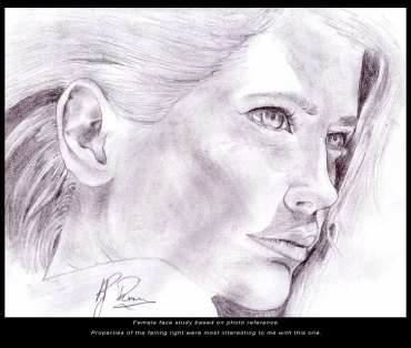 Female Face Study- Pencil - Digitally Framed