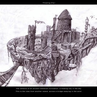 Floating City - Pencil - Digitally Framed