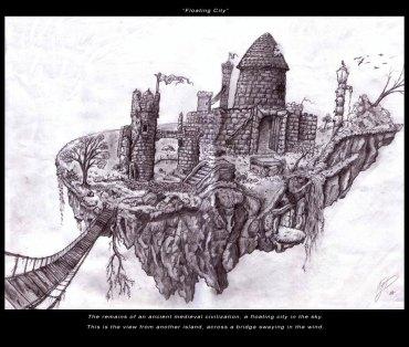 Floating City - Pencil - Digitally Framed