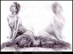 Woman draped in cloth - Pencil - Digitally Framed