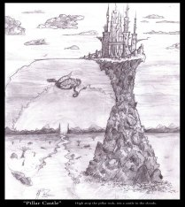Fantasy Concept of a city towering above the earth - Pencil - Digitally Framed