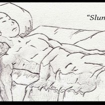 Manga Style - Young man sleeping - Pencil - Digitally Framed