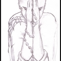 Young Praying Buddhist - Pencil - Digitally Framed