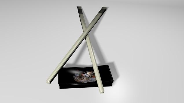 Chopsticks and Rest 3D Model Textured Render