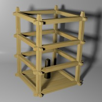 Oriental Lantern Frame Model - Textured 3D Render