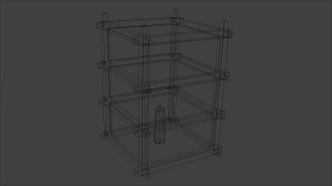 Oriental Lantern Model - 3D Wireframe